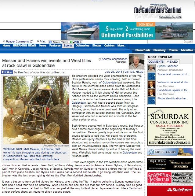 Goldendale Sentinel WERock Article 1
